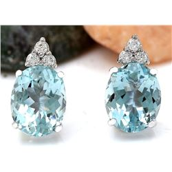 5.40 CTW Natural Aquamarine 18K Solid White Gold Diamond Stud Earrings