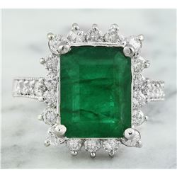 5.03 CTW Emerald 18K White Gold Diamond Ring