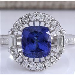 5.26CTW Natural Blue Tanzanite And Diamond Ring In 18K Solid White Gold
