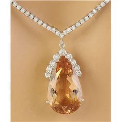 15.65 CTW Morganite 18K White Gold Diamond Necklace