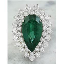 9.05 CTW Emerald 18K White Gold Diamond Ring