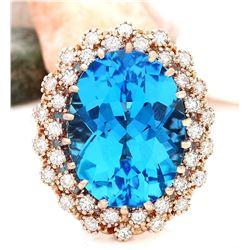 19.21 CTW Natural Topaz 14K Solid Rose Gold Diamond Ring