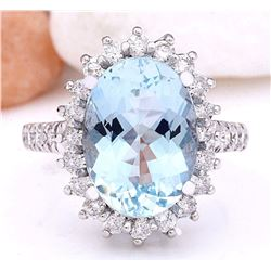 6.10 CTW Natural Aquamarine 18K Solid White Gold Diamond Ring