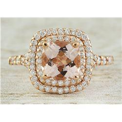 2.25 CTW Morganite 18K Rose Gold Diamond Ring