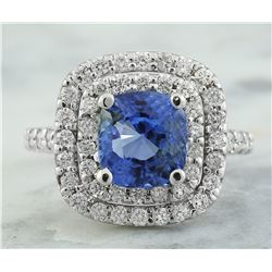 4.92 CTW Sapphire 18K White Gold Diamond Ring