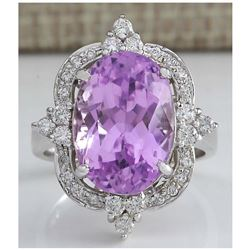 11.65 CTW Natural Kunzite And Diamond Ring 14K Solid White Gold