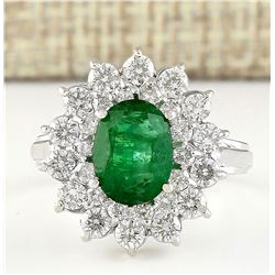 3.08 CTW Natural Emerald And Diamond Ring In 14k White Gold