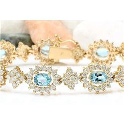 12.54 CTW Natural Aquamarine 14K Solid Yellow Gold Diamond Bracelet