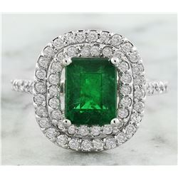 2.60 CTW Emerald 14K White Gold Diamond Ring