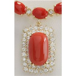 47.41 CTW Natural Red Coral And Diamond Necklace In 14K Yellow Gold