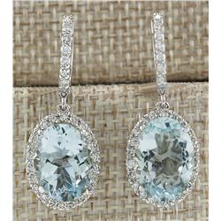 9.96 CTW Natural Aquamarine And Diamond Earrings 18K Solid White Gold