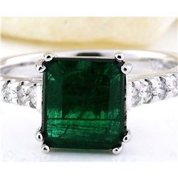 2.41 CTW Natural Emerald 18K Solid White Gold Diamond Ring