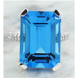 12.30 CTW Topaz 14K White Gold Diamond Ring
