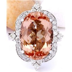 10.91 CTW Natural Morganite 18K Solid White Gold Diamond Ring