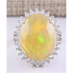 13.48 CTW Natural Opal And Diamond Ring In 18K White Gold