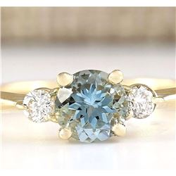 1.20 CTW Natural Aquamarine And Diamond Ring In 14k Yellow Gold