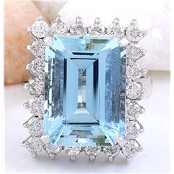 12.99 CTW Natural Aquamarine 18K Solid White Gold Diamond Ring