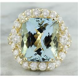 9.20 CTW Aquamarine 14K Yellow Gold Diamond Ring