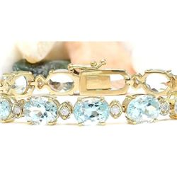 29.85 CTW Natural Aquamarine 14K Solid Yellow Gold Diamond Bracelet