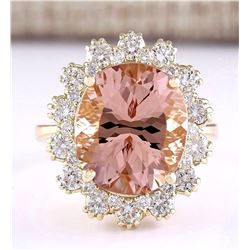 8.65 CTW Natural Morganite And Diamond Ring In 18K Solid Yellow Gold