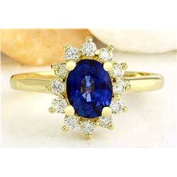 2.30 CTW Natural Sapphire 18K Solid Yellow Gold Diamond Ring