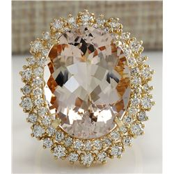 17.81 CTW Natural Morganite And Diamond Ring In 18K Solid Yellow Gold
