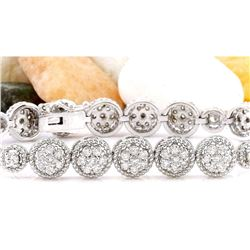 3.75 CTW Natural Diamond 18K Solid White Gold Bracelet