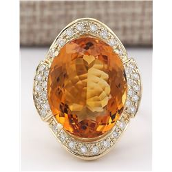 17.06 CTW Natural Citrine And Diamond Ring 18K Solid Yellow Gold