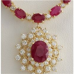40.45 CTW Natural Ruby And Diamond Necklace In 14K Yellow Gold