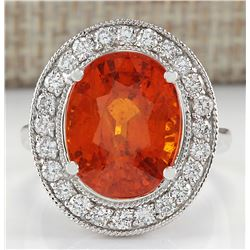 12.31 CTW Natural Mandarin Garnet And Diamond Ring 18K Solid White Gold