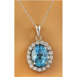 2.00 CTW Topaz 14K White Gold Diamond Necklace