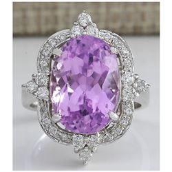 11.65 CTW Natural Kunzite And Diamond Ring 18K Solid White Gold