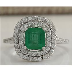 2.12 CTW Natural Colombian Emerald And Diamond Ring In 14K White Gold