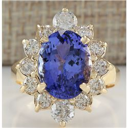 6.18 CTW Natural Blue Tanzanite And Diamond Ring In 18K Solid Yellow Gold