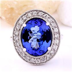 8.80 CTW Natural Tanzanite 14K Solid White Gold Diamond Ring