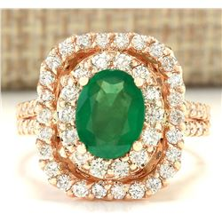 2.41 CTW Natural Emerald And Diamond Ring In 18K Rose Gold