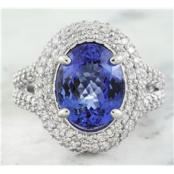 5.50 CTW Tanzanite 14K White Gold Diamond Ring