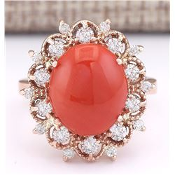 7.18 CTW Natural Coral And Diamond Ring In 18K Rose Gold