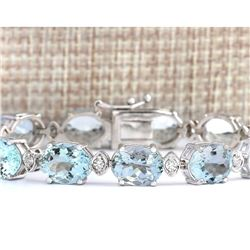 35.75 CTW Natural Aquamarine And Diamond Bracelet In 18K Solid White Gold