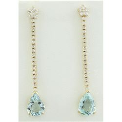 7.17 CTW Aquamarine 18K Yellow Gold Diamond earrings