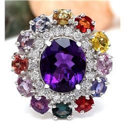 12.10 CTW Natural Amethyst, Sapphire 18K Solid White Gold Diamond Ring