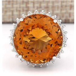18.42 CTW Natural Citrine And Diamond Ring 18K Solid White Gold
