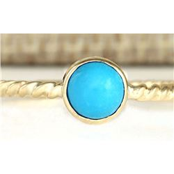 1.00 CTW Natural Turquoise Ring In 14k Yellow Gold