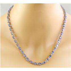 47.30 CTW Tanzanite 18K White Gold Diamond Necklace