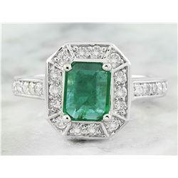 2.00 CTW Emerald 18K White Gold Diamond Ring