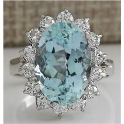 6.99 CTW Natural Aquamarine And Diamond Ring In 18K Solid White Gold