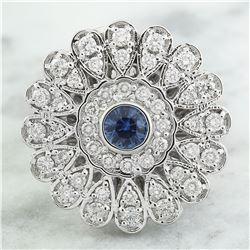 1.70 CTW Sapphire 18K White Gold Diamond Ring