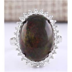 8.66 CTW Natural Black Opal And Diamond Ring In 18K White Gold