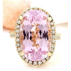 19.10 CTW Natural Kunzite 18K Solid Yellow Gold Diamond Ring