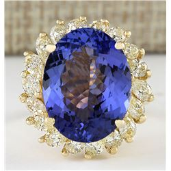 11.97 CTW Natural Tanzanite And Diamond Ring In 18K Yellow Gold